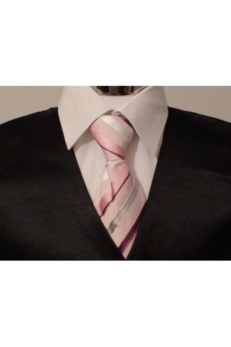 Cravate rose rayée