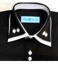 Chemise noir dble col blanc