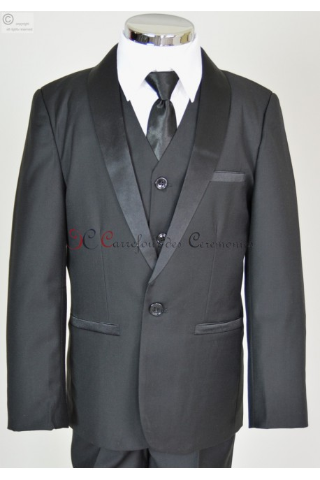 costume noir col satin Albert