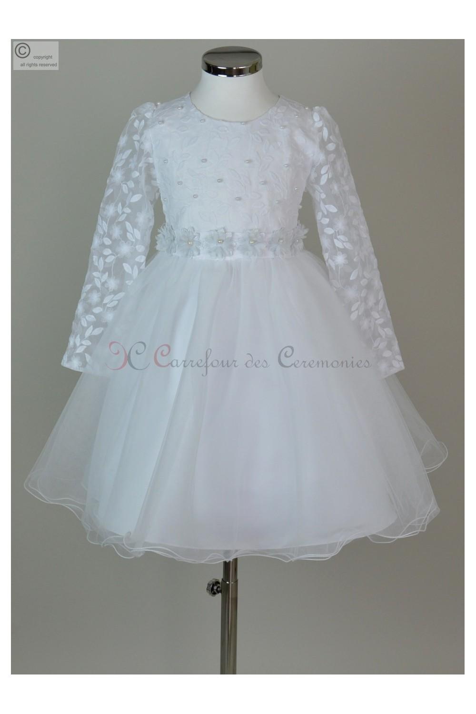 Robe communion blanche pour fillette manche 3 4 for Robes de mariage cyber lundi