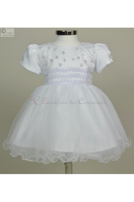 robe de bapteme bebe princesse avec jupon integre modele classique. Black Bedroom Furniture Sets. Home Design Ideas