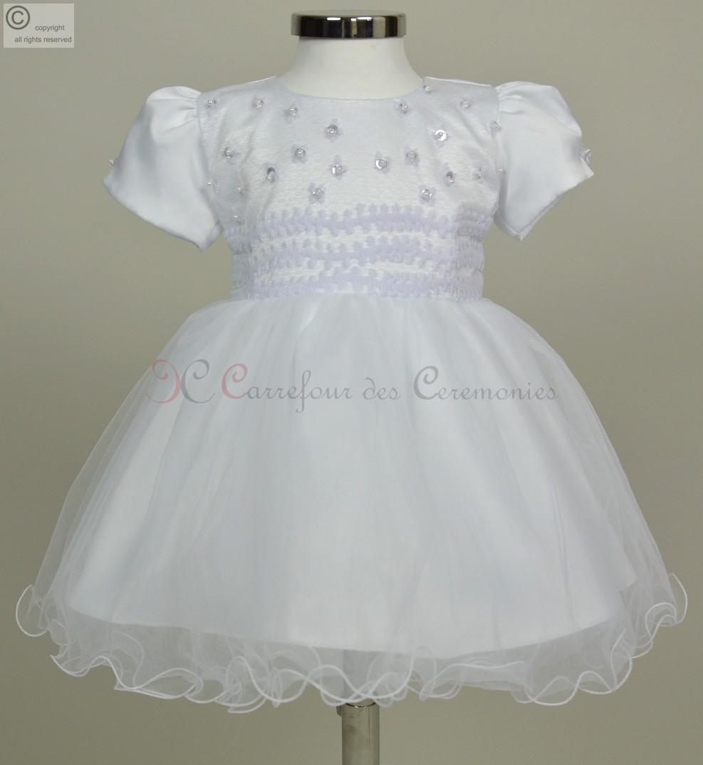 Robe blanche dentelle 18 mois