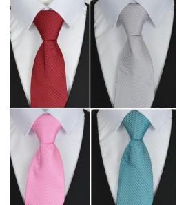 Cravate grise, turquoise, bordeaux, rose rayée