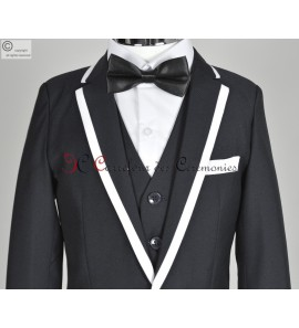 costume Timon noir col blanc