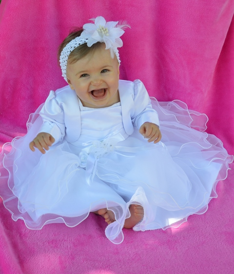 Robe blanc ceremonie bebe fille